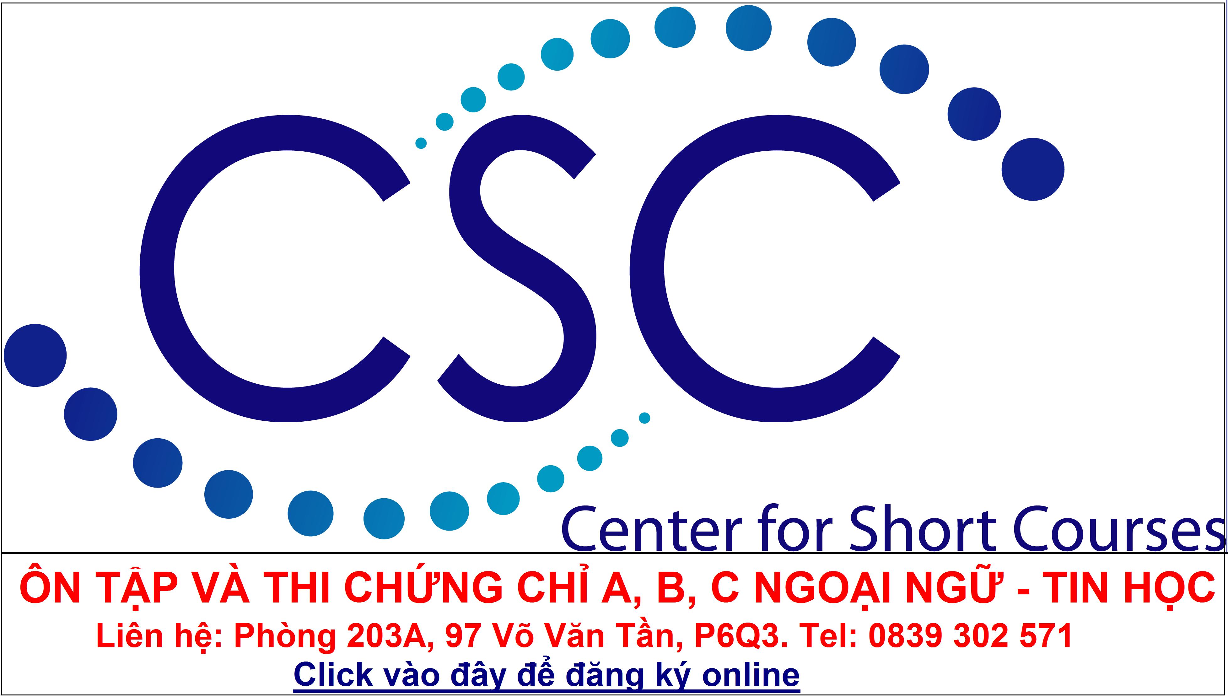 CSC - Trung tâm Đào tạo Ngắn hạn và Ngoại ngữ - Tin học